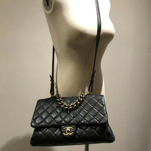 Rare Chanel Classic Quilted Black Leather Flap Bag